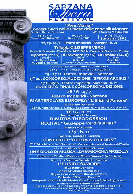 """Locandina della manifestazione """"Sarzana Opera Festival 2012"""""""