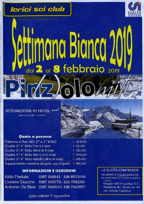 Locandina Settimana Bianca a Pinzolo 2019