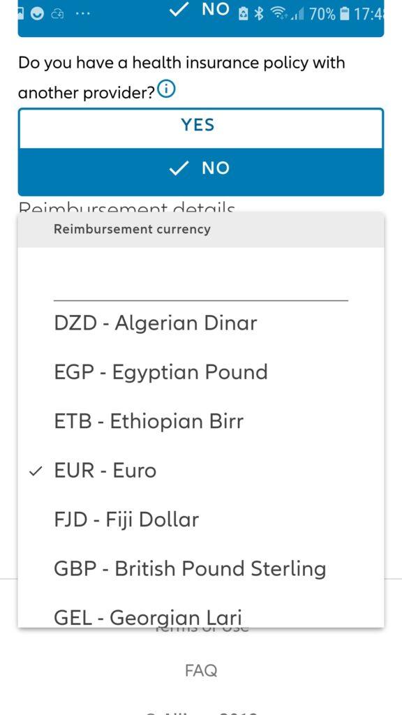 La valuta del rimborso